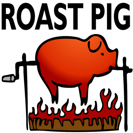An image of a roasted pig. Vector