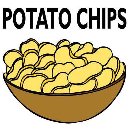 An image of a bowl of potato chips. Vector