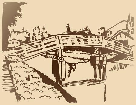 運河橋スケッチのイメージ。