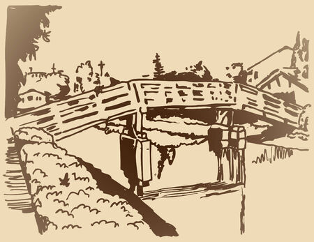 canal: An image of a canal bridge sketch. Illustration