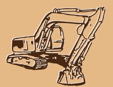 An image of an excavator sketch. Ilustração