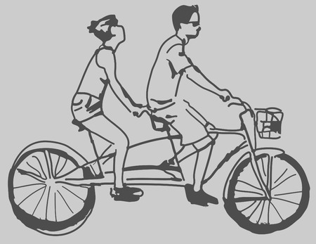 An image of a tandem bike. Vector
