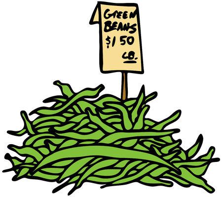 Een beeld van groene bonen. Vector Illustratie