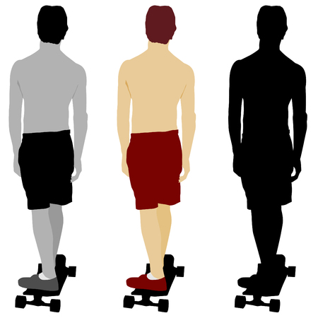 board shorts: An image of a skateboarder set.