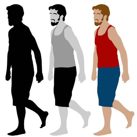 hombre con barba: Una imagen de un conjunto de hombre caminar.