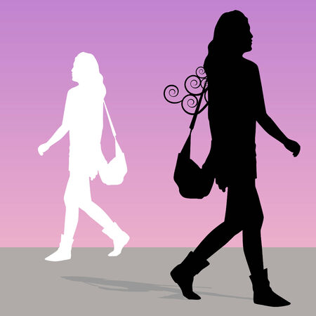 shadow: An image of a woman walking with purse. Illustration