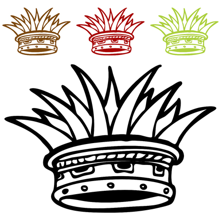 An image of a jungle crown set. Vector