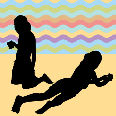 woman drinking milk: An image of children laying on the beach. Illustration