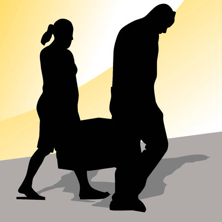 carrying: An image of a couple carrying an ice chest. Illustration