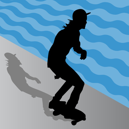 squiggly: An image of a male skateboarder.