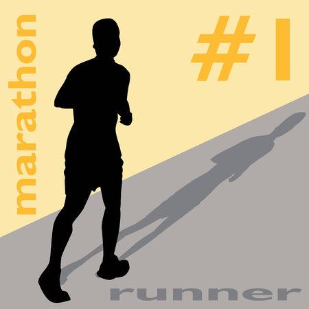Een beeld van een man lopen van een marathon.