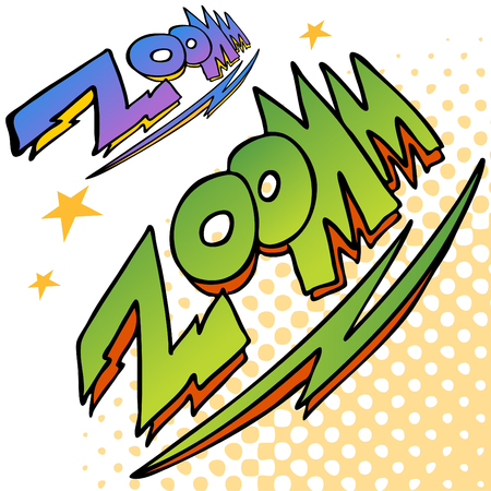 cartoon superhero: An image of zoom bolt sound text.