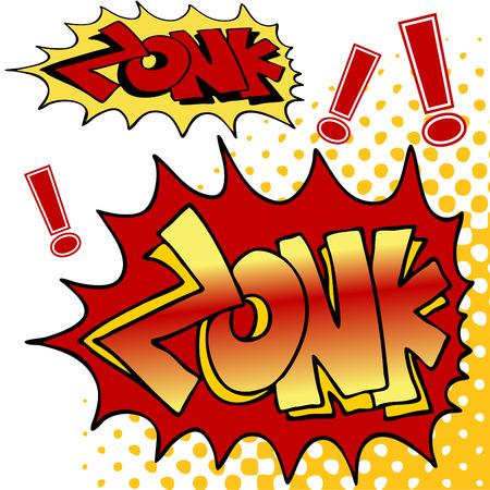 Een afbeelding van zonk comic book text. Stock Illustratie