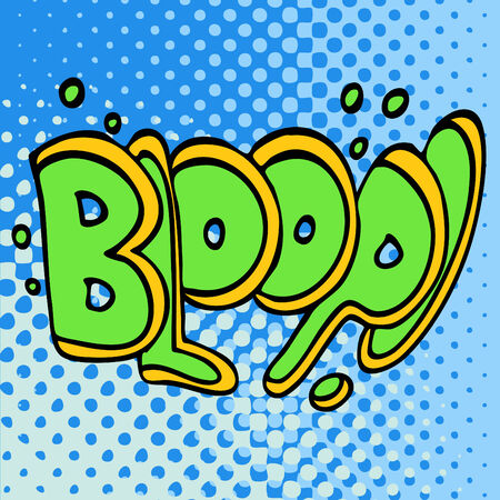graphic illustration: An image of comic book underwater bloop text.