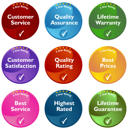 An image of 5 star rating buttons. Vector