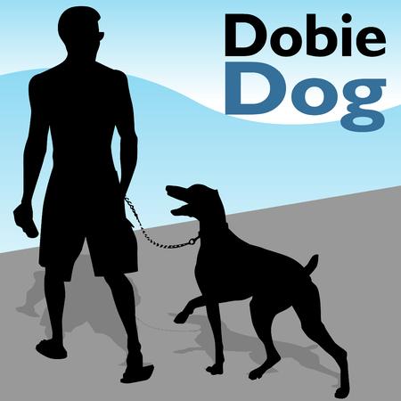 Een afbeelding van een man lopen zijn hond doberman pinscher.