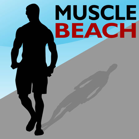 An image of a muscle beach man walking on the boardwalk. Stock Vector - 8130377