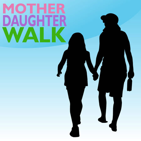 An image of mother and daughter holding hands while walking. Vector