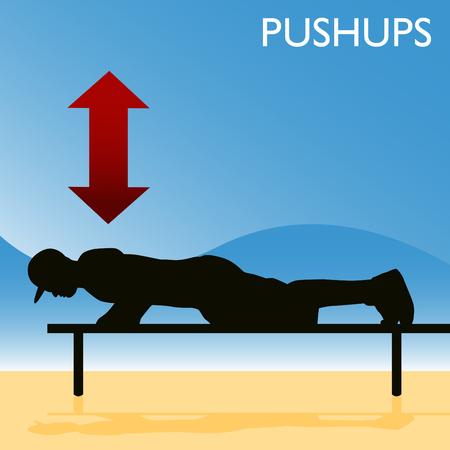 An image of a man doing pushups. Stock Vector - 8130385