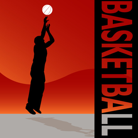An image of a man tossing a basketball. Vector