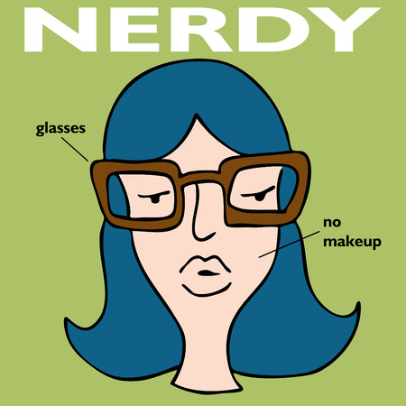 nerdy: An image of a nerdy girl with glasses