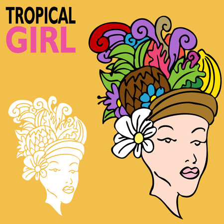 girl: An image of a tropical girl with fruit hat