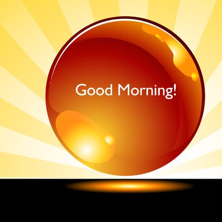 good: An image of a good morning sunrise background button. Illustration