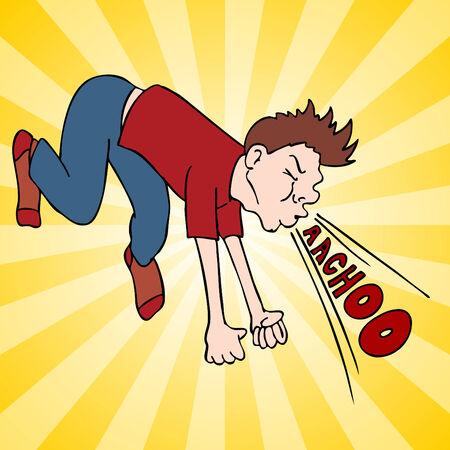 estornudo: Una imagen de un hombre haciendo un estornudo fuerte.