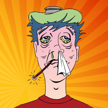 miserable: An image of a man with terrible flu symptoms. Illustration