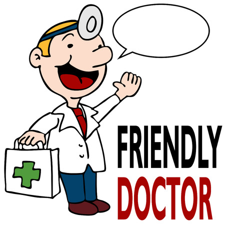 medical drawing: An image of a friendly doctor holding medical kit. Illustration