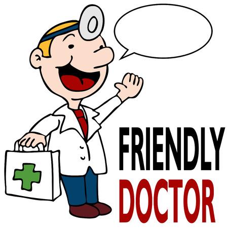 medico caricatura: Una imagen de un m�dico amistosa con kit de m�dico.