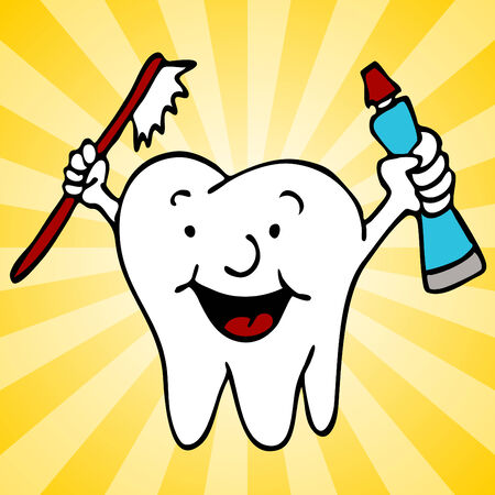 An image of a cartoon tooth character holding toothpaste and a toothbrush. Vector