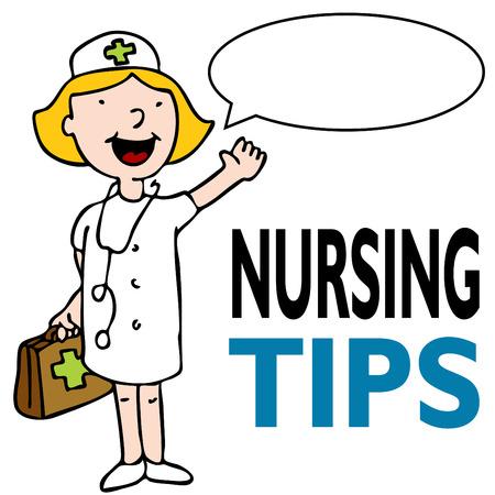 propina: Una imagen de una enfermer�a dando consejos mientras mantiene un kit de m�dico.