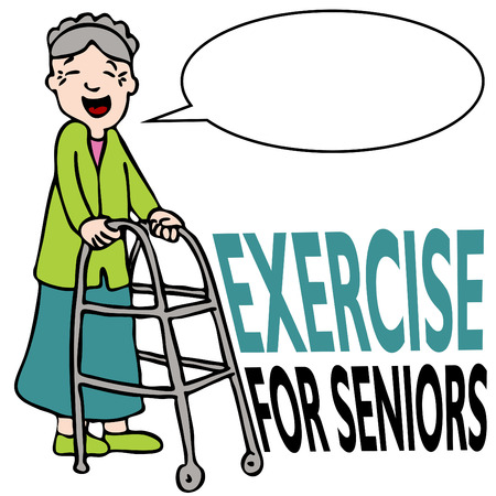 exercise cartoon: An image of a elderly woman walking with her walker.