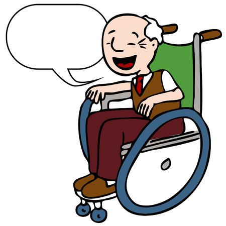 personas ancianas: Una imagen de un hombre alto feliz, sentado en su silla de ruedas.