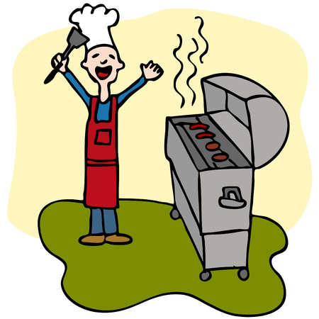 An image of a man cooking on his barbecue. Vector