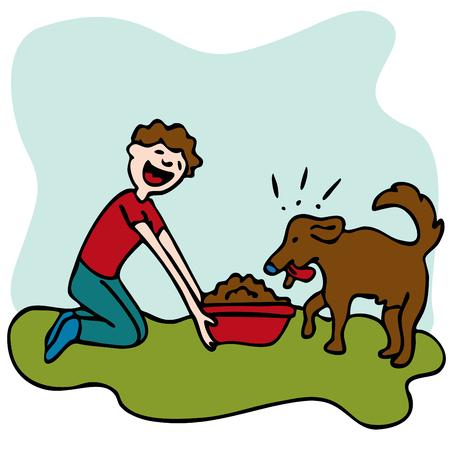 그의 강아지 먹이를 먹는 남자의 이미지.