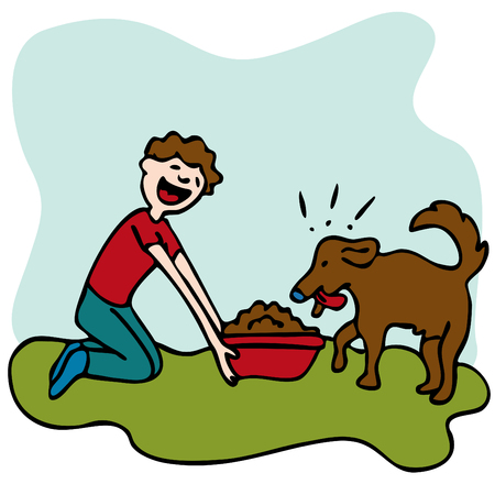 An image of a man feeding his dog some food.