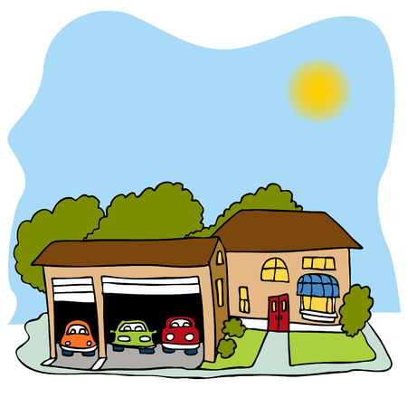 car garage: An image of a house with a three car garage.