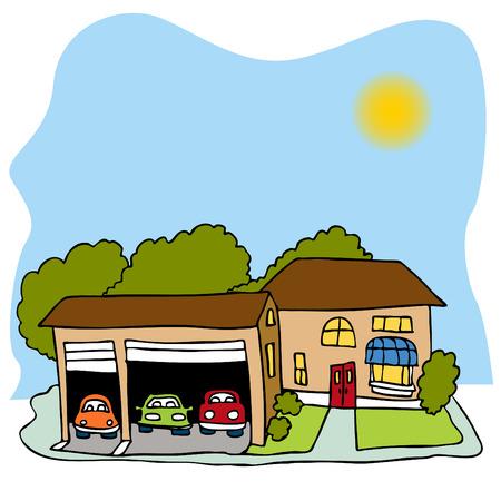 Een afbeelding van een huis met een garage voor drie wagens. Stockfoto - 8186954