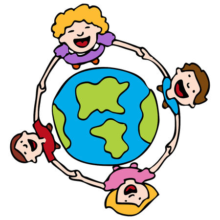 An image of a children holding hands around the Earth. Vector
