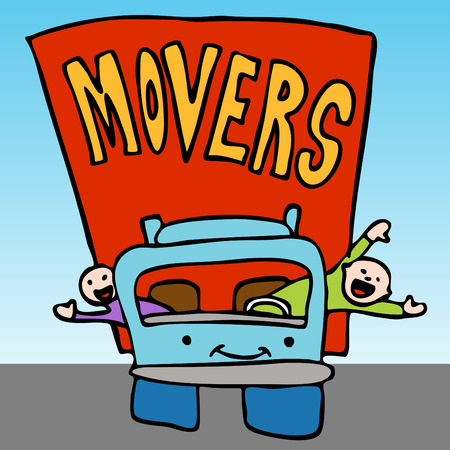 An image of a movers waving from the moving truck. Illustration
