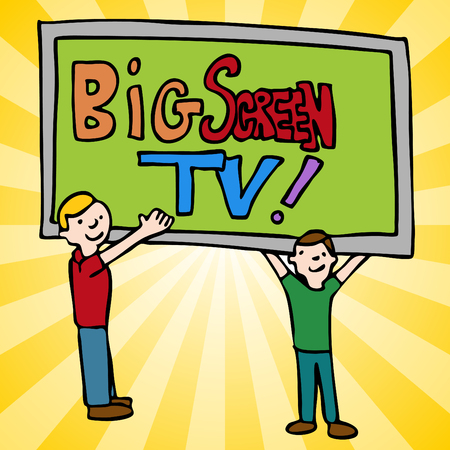 An image of a men moving a big screen television.