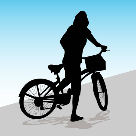 bicycle silhouette: An image of a woman riding her bike with a basket.