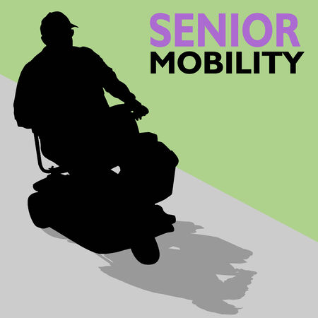 An image of a senior man riding his scooter. Vector