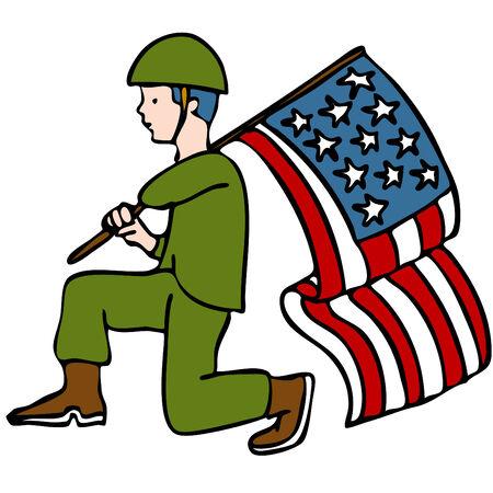 Een afbeelding van een veteraan soldaat met een Amerikaanse vlag.