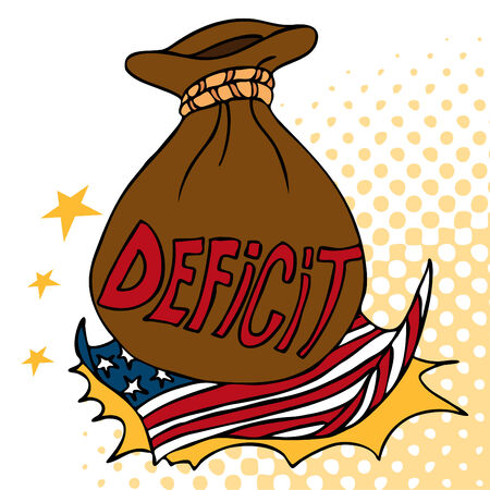 deficit: An image of a giant deficit bag crashing on an American flag.