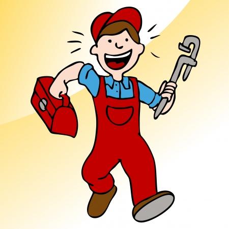 handy man: Un'immagine di un idraulico in esecuzione con una chiave inglese e cassetta degli attrezzi. Vettoriali