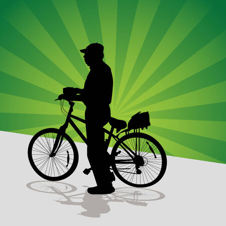 elder: An image of a older man getting ready to bike ride.
