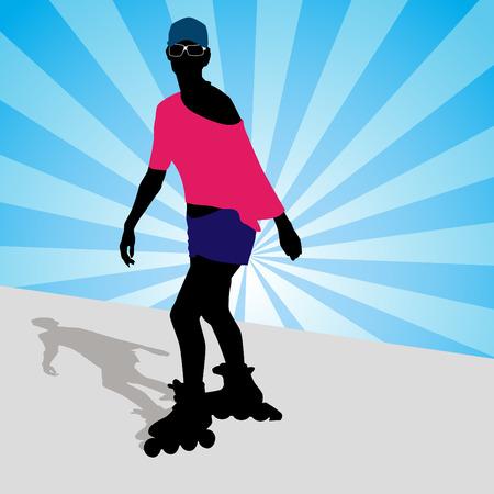 그녀의 롤러 블레이드에 운동하는 여자의 이미지.